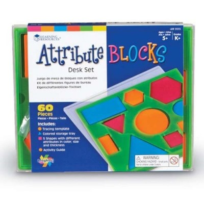 LEARNING RESOURCES Brights! Attribute Blocks Desk Set
