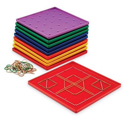 LEARNING RESOURCES 18cm Assorted Geoboards, Set of 10