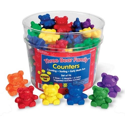 LEARNING RESOURCES Three Bear Family Counters, Rainbow Set