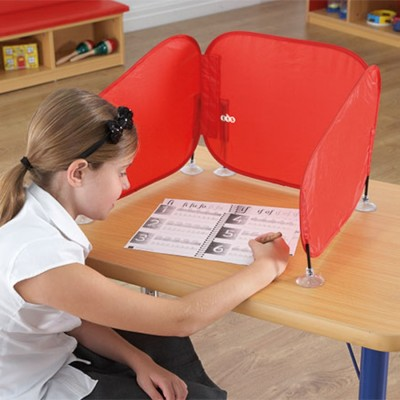 TTS Pop Up Concentration Desk Barrier Red